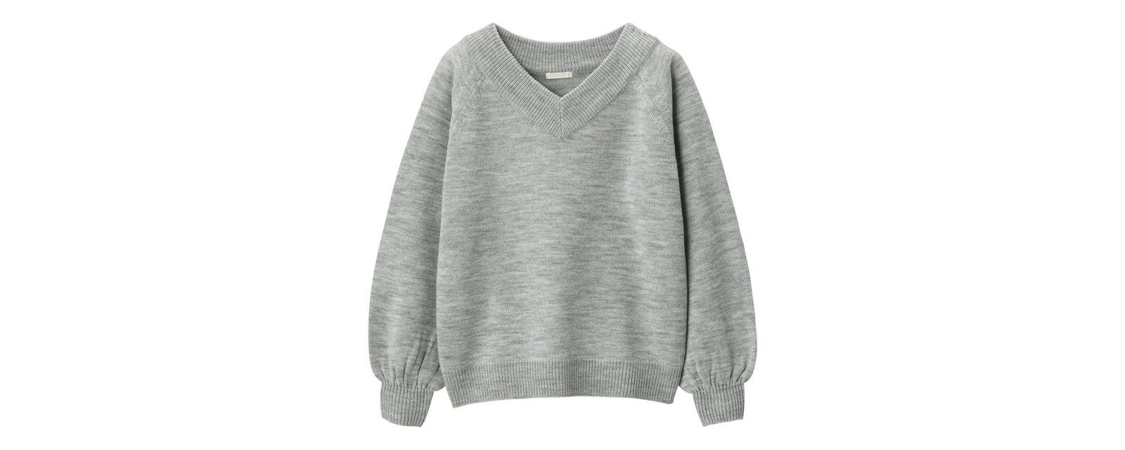 ワイドVネックセーター(長袖)